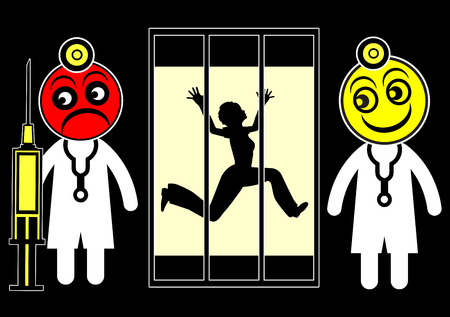 psychiatric: Fear of Psychiatrists. Woman was in panic fears to be locked up in the psychiatric