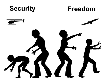 self dependent: Freedom and Security. Concept sign of two different education styles in Early Childhood Education