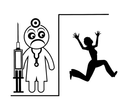 Frustrated Doctor. Female patient in panic fleeing from physician Stock Photo