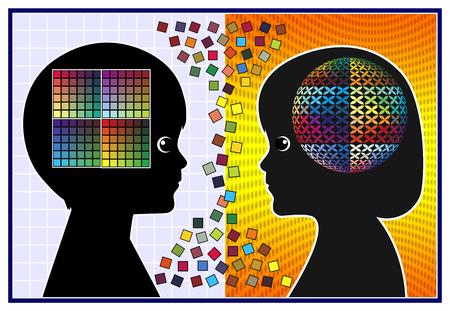 psicologia infantil: Las diferencias en las habilidades creativas. Los niños y las niñas son talentosos y dotados de diferentes maneras Foto de archivo