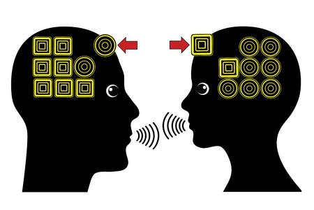 empatia: La construcci�n s�lida relaci�n. Muestra del concepto de empat�a en una asociaci�n exitosa entre el hombre y la mujer Foto de archivo