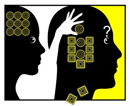 percepci�n: C�mo las mujeres cambio de los hombres. Concepto de la muestra chistosa de la mujer que la manipulaci�n por cambiando gradualmente su mente propia percepci�n .Seg�n
