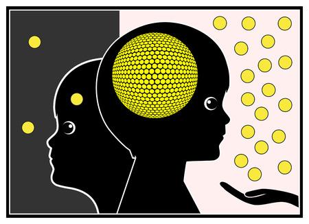 cognicion: Estimulaci�n Cerebral. Muestra del concepto de potenciar el capital intelectual en el Desarrollo de la Primera Infancia Foto de archivo