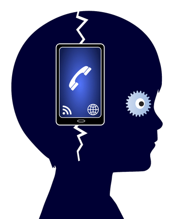 cell phone addiction: Cell Phone Addiction. Concept sign of a child who is addicted to his mobile phone going crazy