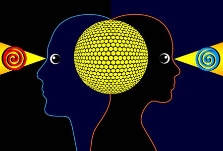 telepathy: Telepathy. Concept sign of a mind to mind communication between two people Stock Photo