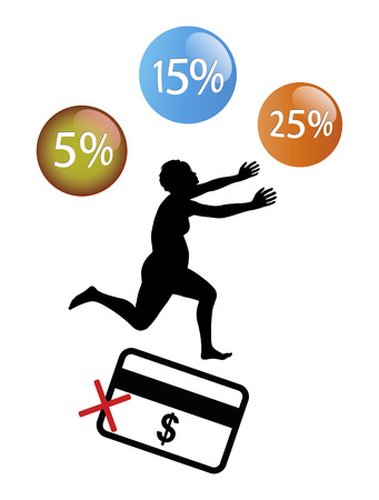 great danger: Know your Credit Card Limit. Female bargain hunter in great danger to overspend her budget
