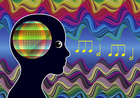 sound healing: Mind Expanding Music. Woman listens to Healing Sounds expanding her consciousness