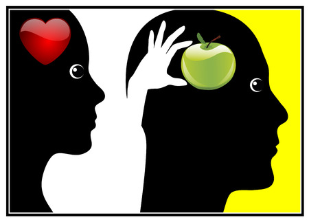 adam eve: Adam and Eve. Eve gave the fruit from the tree of knowledge to Adam out of love Stock Photo