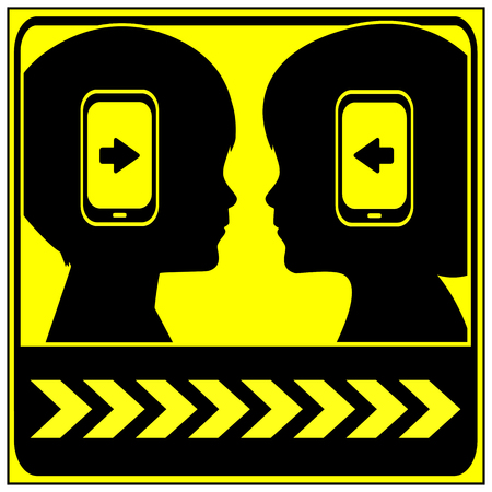 obsessed: Caution Digital Kids. Children obsessed by cellular phones are at risk in road traffic or in public