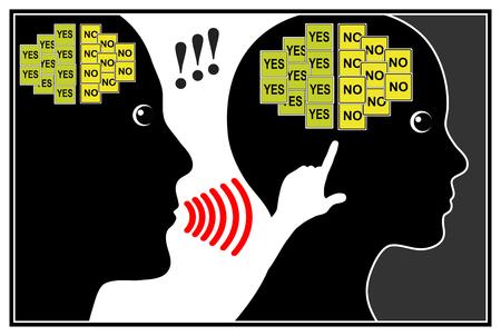 psicologia: La opresión de la mujer. Muestra del concepto de la crueldad mental y abuso psicológico Foto de archivo