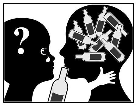 tomando alcohol: La madre alcohólica. Niño está sufriendo ya que la madre es adicta a las bebidas alcohólicas Foto de archivo