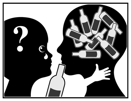 alcool: Mère alcoolique. Enfant souffre puisque la mère est accro aux boissons alcoolisées Banque d'images