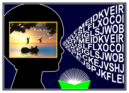 mentally: Visual Imagery while Reading. A child is creating a mental picture from words
