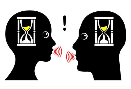 comunicarse: Comunicación bajo presión. Dos personas hablando bajo presión de tiempo en los negocios o de dominio privado