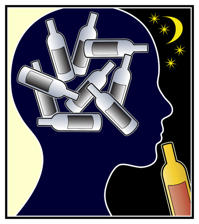 drinking problem: Alcohol Addicted Woman. Female person with alcohol use disorder