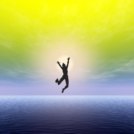 liberate: Want to be Free. Concept sign of a happy young woman breaking free by jumping into the water Stock Photo