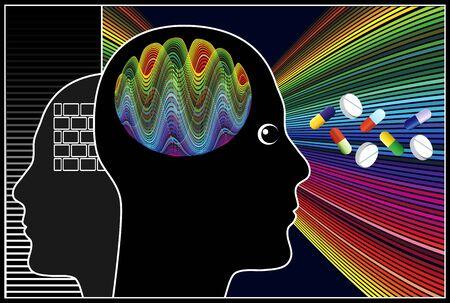 cognicion: Los f�rmacos nootr�picos. Incrementar la creatividad, la cognici�n y el cerebro humano de funciones Foto de archivo