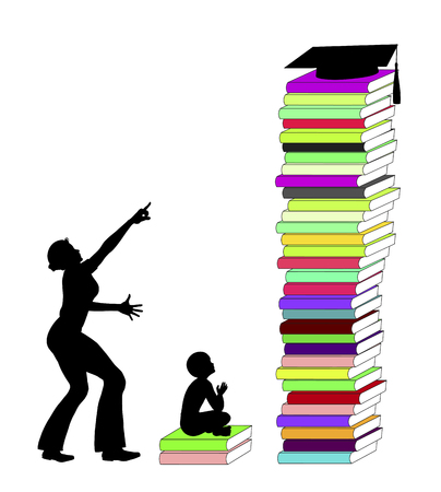 ambitions: Parental academic expectations. Mother with exaggerated ambitions for the academic career of her child