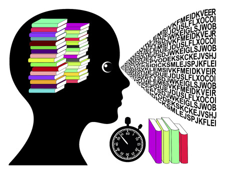 no time: Speed Reading Woman. Concept sign of skimming books in no time