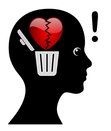 sort out: Woman is getting over broken heart. Female person is sorting out lovesickness Once and For All Stock Photo