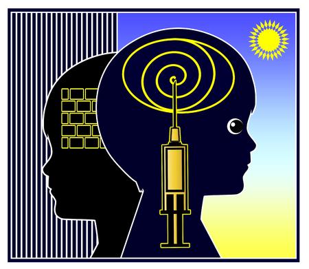 psychotropic medication: Psychoactive Medication for Kids. Concept sign for psychotropic medicine to treat mentaldisorder