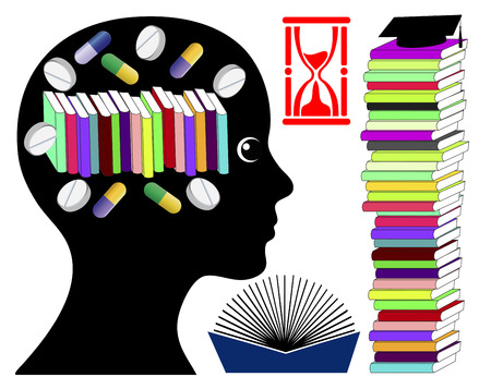 enhancing: Student taking brain enhancing drugs. Smart drugs to boost brainpower for Exam Preparation Stock Photo