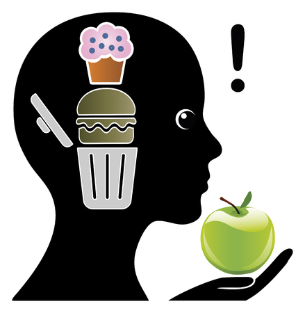 健康食品を切望するトレーニングの脳。ジャンク フードを制限するためにメンタル トレーニング 写真素材