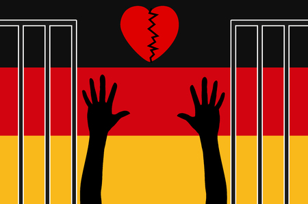 mistrust: Sympathy for Refugees gone. Germans have doubts to cope with refugee crisis Stock Photo