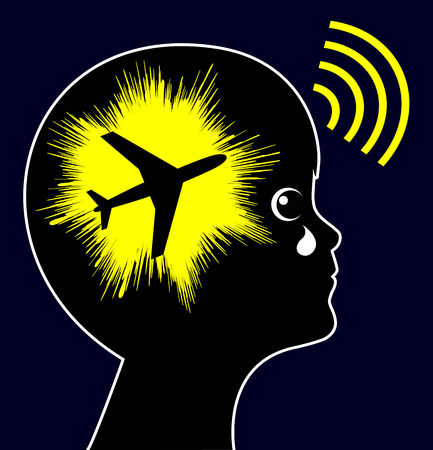 noise: Aircraft Noise Exposure. Noise pollution from airports have negative impact on the health of children Stock Photo