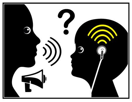 contaminacion acustica: Niño con pérdida auditiva. Muestra del concepto de sordos generacional debido a los brotes del oído y la música fuerte Foto de archivo