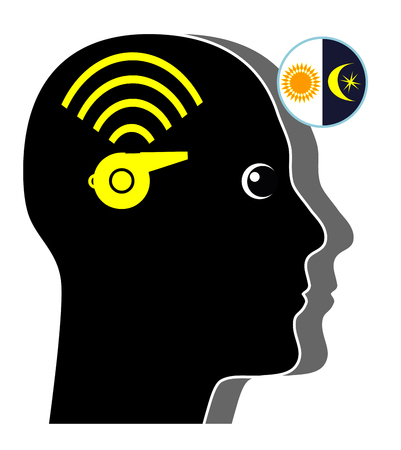 humane: Tinnitus by Day and Night. Person is hearing annoying noises in his ears Stock Photo