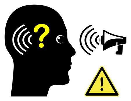 impairment: Person with Hearing Loss. Concept sign of a man with hearing impairment Stock Photo