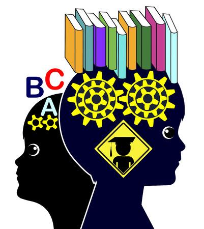 psicologia infantil: Habilidades de lectura y desarrollo del cerebro. Muestra del concepto de la importancia de la lectura de libros en la educación temprana