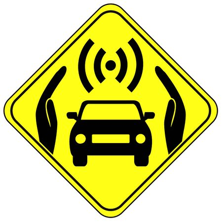 concept car: Driverless Car Safety. Concept sign for autonomous cars and driver safety