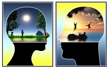 paz interior: Encuentra tu niño interior. Pareja recuerda theywere forma despreocupada como un niño, como parte de la terapia emocional Foto de archivo