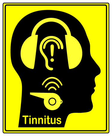 protectors: Beware of tinnitus. Person wearing hearing protectors to avoid hearing damage like the annoying buzzing and ringing of tinnitus