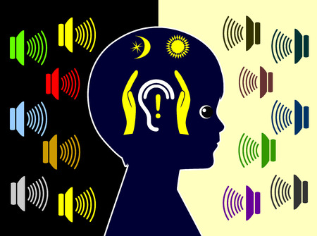 induced: Protect Kids from Daily Noise Pollution. Children are exposed to many sources of noise day and night and are threatened by noise induced hearing loss Stock Photo