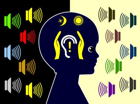 contaminacion acustica: Protege a los menores de la contaminación acústica diaria. Los niños están expuestos a muchas fuentes de ruido día y noche y están amenazadas por la pérdida de audición inducida por ruido Foto de archivo