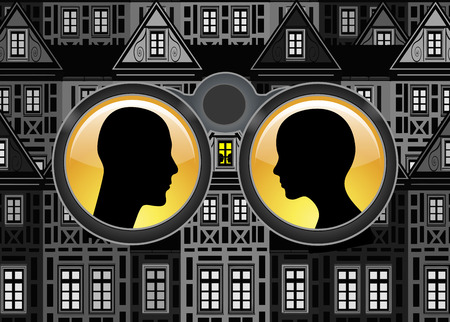 voyeur: Surveillance and Privacy. Couple is being spied at home with binoculars