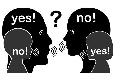 Konflikt mit dem Inneren Kind. Erwachsene in Widersprüche mit ihren Inner, während sie mit einander zu kommunizieren