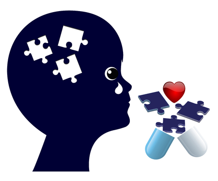 Treatment of Memory Loss in Children. Medication alongwith psychotherapy to recover from lapse of memory Stock Photo