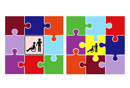 integration: Integration and Inclusion. Concept sign to demonstrate two different Educational Systems Stock Photo