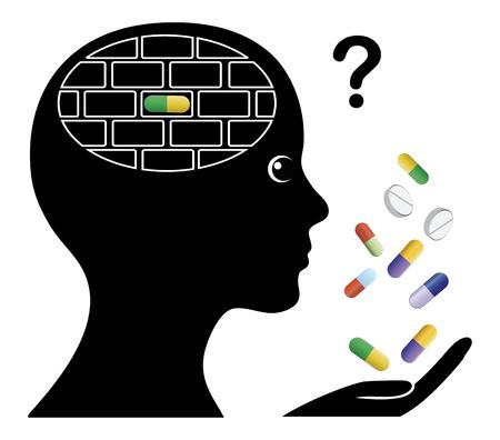cognicion: Las drogas que causan pérdida de memoria. Los medicamentos recetados pueden bloquear la memoria y la cognición Foto de archivo