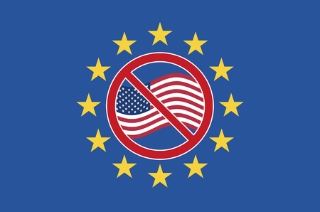conflicting: TTIP protest sign. Symbol against the Transatlantic Trade and Investment Partnership between the United States and Europe