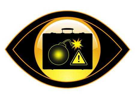 hidden danger: Explosives Detection. Concept sign of a security system to detect explosives in luggage
