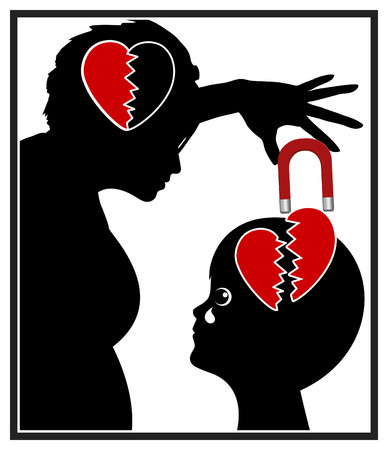 egoistic: Narcissistic Mother. Concept sign of emotional child abuse through self-centered parent