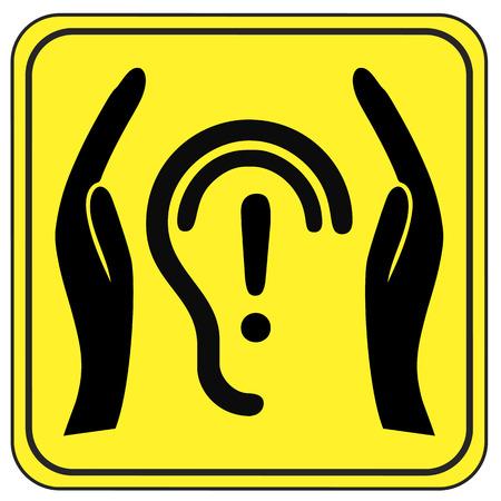 poner atencion: Proteja sus oídos. La salud y la señal de seguridad que presten atención a los riesgos de salud a través de la contaminación acústica