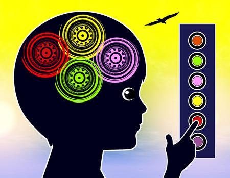 autonomia: Concepto de autoaprendizaje para los niños. Niño Siguiendo un programa de aprendizaje autodirigido Foto de archivo