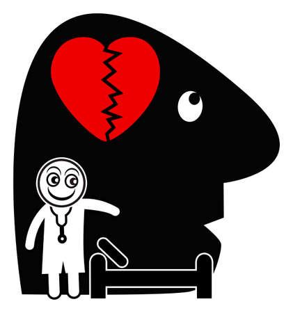 psyche: Psiquiatra y paciente. signo concepto humorístico de un terapeuta y su paciente que sufre de problemas emocionales