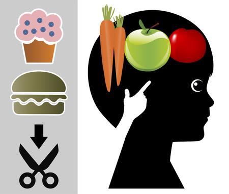 dieta sana: La enseñanza de cabrito al igual que los alimentos de la Salud. El niño aprende a ir para la dieta sana y olvidarse de la comida basura
